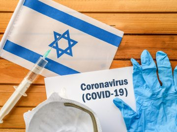 vaccine, face mask for virus, glove and paper sheet with words Coronavirus COVID-19