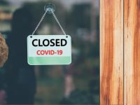 Closed images of coffee shops,Closed businesses for COVID-19 concept.