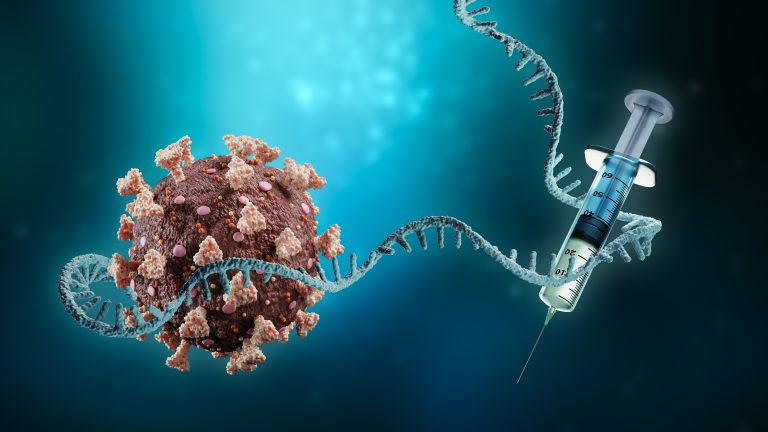 Coronavirus or sars-cov-2 virus cell with messenger RNA or mRNA and syringe on blue background 3D rendering illustration with copy space. Vaccination or vaccine, immunity, pandemic, science, medicine, medical technology concept.