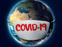 COVID-19 Coronavirus Text on Face Mask on Planet Earth. 3D Illustration Created in Cinema 4D. Parts of the image are furnished by NASA using texture found at URL: https://eoimages.gsfc.nasa.gov/images/imagerecords/74000/74443/world.topo.200409.3x5400x2700.png