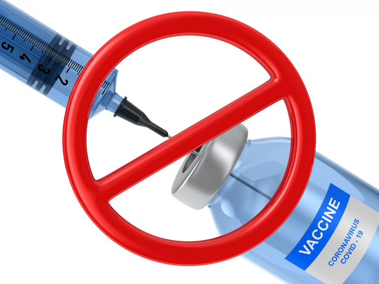 forbidden sign and vaccine from covid-19 on white background. Isolated 3D illustration