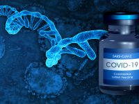 COVID-19 mRNA vaccine. 2020 coronavirus pandemic. Single RNA strand.