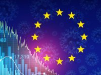 Eurozone recession and European economy and economic pandemic fear and coronavirus fears or virus outbreak and Stock market selling concept with 3D illustration elements.