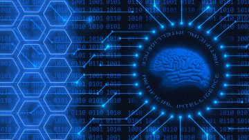 Human brain symbolic on AI Artificial Intelligence background with blue lettering - 4-digit binary code behind information connecting lines and honeycomb elements - Cyber technology and automation concept - 3D Illustration